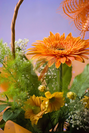 Gerbera stock photo, Orange gerbera bouquet in basket by Desislava Dimitrova