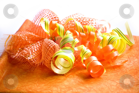 Gift box with ribbon stock photo, Orange decorated gift box with ribbon by Desislava Dimitrova