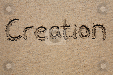 Creation, written on a sandy beach. stock photo, Creation, written on a sandy beach. by Stephen Rees