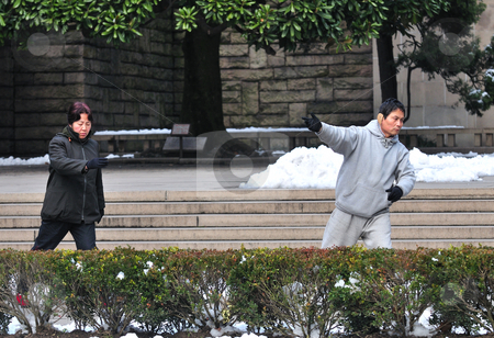 Tai Chi  stock photo, Morning Tai Chi at shanghai park by Kobby Dagan