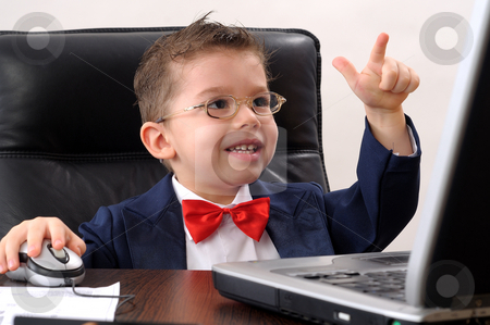 Small boy stock photo, Ok, positive attitude for a small businessman by Dragos Iliescu