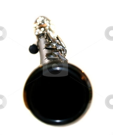 Clarinet stock photo, Classic Black B Clarinet on white background. by Henrik Lehnerer