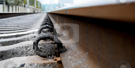 Railway stock photo, Rail road in industrial suburb district by Leyla Akhundova