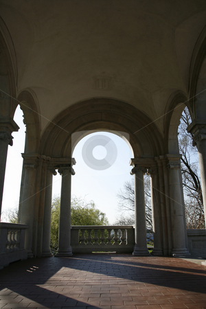 Classical Arches stock photo, Arched Structure with Afternoon Light by Terise Slotkin