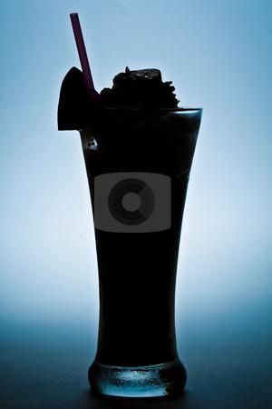Milk shake silhouette stock photo, Silhouette of milk shake with bananas, strawberries and chocolate by Damir Franusic