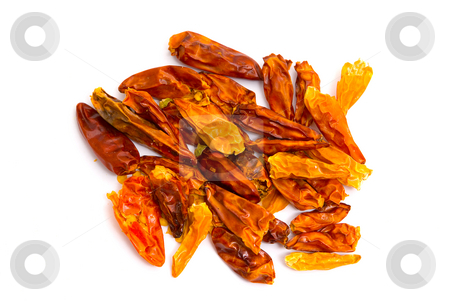 Getrocknete Chilischoten - Dryed chillies stock photo, Die Gattung Paprika (Capsicum), umgangssprachlich auch Chili, Peperoni oder Pfefferoni, geh?rt zur Familie der Nachtschattengew?chse (Solanaceae). - Chili pepper (also known as, or spelled, chilli pepper, chilli, chili, and chile) is the fruit of the plants from the genus Capsicum, members of the nightshade family, Solanaceae. by Wolfgang Heidasch