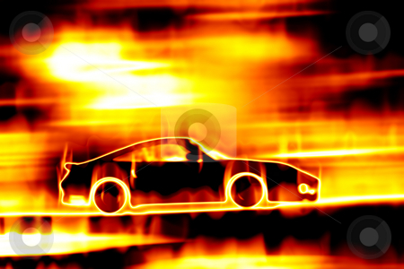 Fiery Blazing Sports Car  stock photo, Abstract illustration of a sports car speeding through a burning fire. by Todd Arena