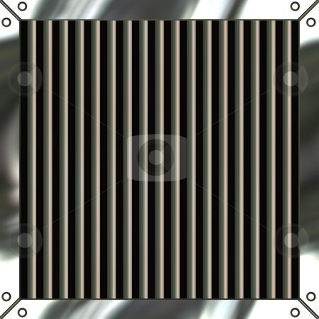Shiny Metal Grille stock photo, A shiny metallic air vent grille that includes the clipping path for the black area in between the spokes. by Todd Arena
