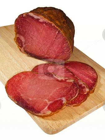 Delicatessen stock photo, Tasty domestic ham isolated on a white background. by Sinisa Botas