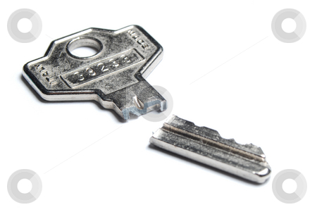 Broken key stock photo, Broken key isolated on white backround by Gjermund Alsos