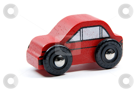Red toy car stock photo, Red toy car isloated on white by Gjermund Alsos
