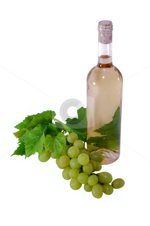 White Wine stock photo, White Wine with green grapes an leaves by Jan Martin Will