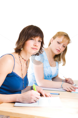 Studying stock photo, Girls doing their homework together by Jan Martin Will