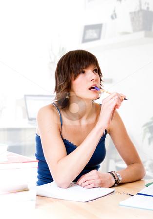 Homework stock photo, Girl thinking over homework by Jan Martin Will