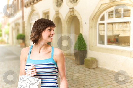 Happy shopping stock photo, Girl shopping in city by Jan Martin Will