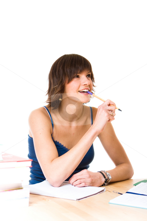 Study stock photo, Young woman doing her studies by Jan Martin Will