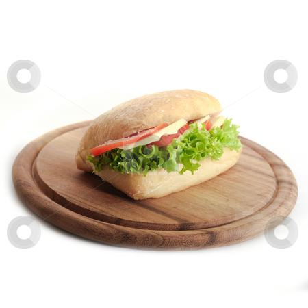 Mozzarella Sandwich stock photo, Sandwich with Mozzarella, tomatos and Salat by Jan Martin Will