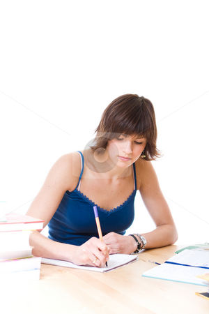 Woman writing report stock photo,  by Jan Martin Will
