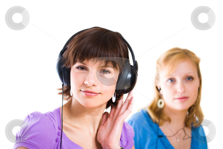 Woman with cell headphones stock photo,  by Jan Martin Will