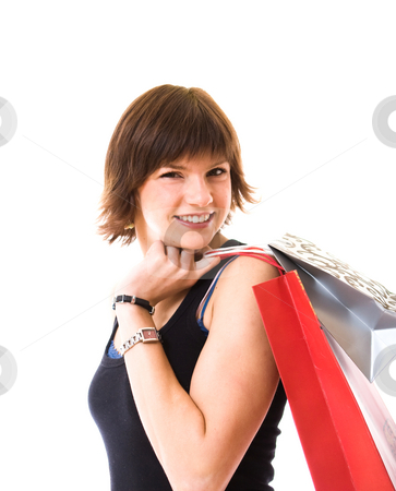 Shopping Girl stock photo, Girl going shopping isolated on white by Jan Martin Will