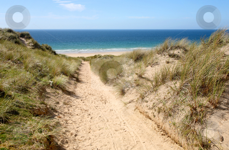 A path through the sand dunes to the beach. stock photo, A path through the sand dunes to the beach.  Gwithian Towans, Cornwall, UK by Stephen Rees