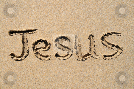 Jesus, written on a sandy beach. stock photo, Jesus, written on a sandy beach. by Stephen Rees
