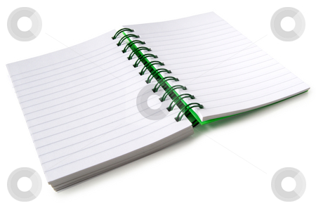 A spiral bound notebook with blank pages. stock photo, A spiral bound notebook with blank pages, isolated on a white background. by Stephen Rees