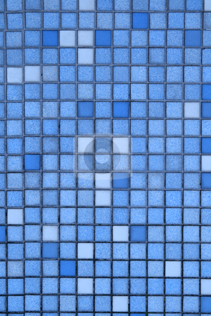 Vertical view of small blue tiles. stock photo, Vertical view of small blue tiles. by Stephen Rees