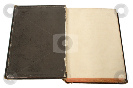 The inside cover of an old black book with space for text. stock photo, The inside cover of an old black book with space for text. by Stephen Rees