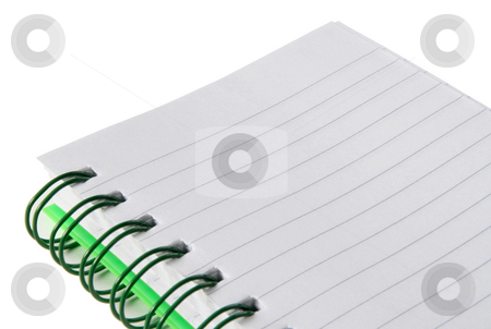 Close up of a small green notepad. stock photo, Close up of a small green notepad. by Stephen Rees