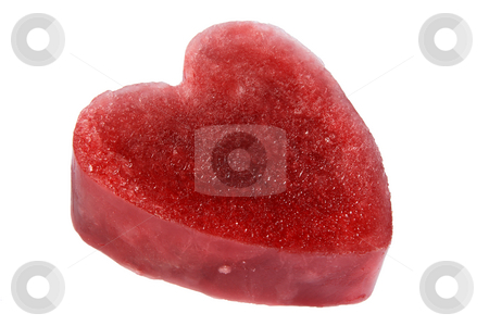 Side view of a red ice heart, isolated on a white background. stock photo, Side view of a red ice heart, isolated on a white background. by Stephen Rees