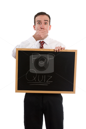 Surprise Test stock photo, A shocked substitute teacher is shocked that he has to give a pop quiz, isolated against a white background by Richard Nelson