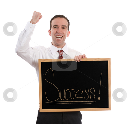 Success stock photo, A young businessman holding a sign and pumping his fist with excitement, isolated against a white background by Richard Nelson