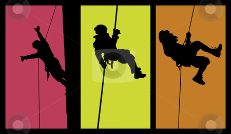 Abseiling Silhouttes stock vector clipart, Silhouettes of a person doing acrobatic styles in air. Vectorized. Isolated with bright colors. by SuiPhoto