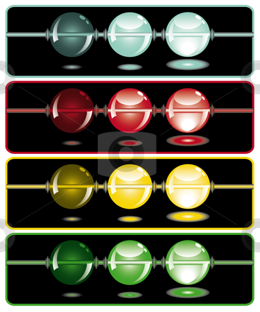 Glowing beads in the dark on four rows stock vector clipart, Glowing beads in the dark from dark to light in four rows usable as web button by Karin Claus