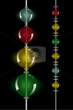 Glowing beads in the dark on two rows stock vector clipart, Glowing beads in the dark on two rows on two vertical rows from small to big by Karin Claus