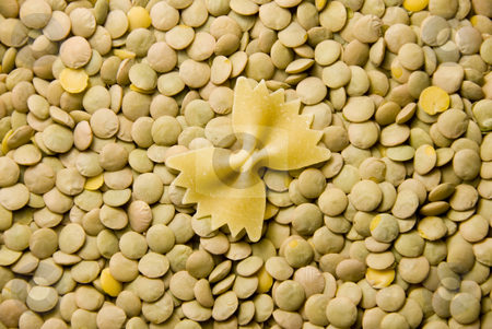 Noodle and lentils stock photo, Close up shoot of green lentils and a noodle by Wolfgang Zintl
