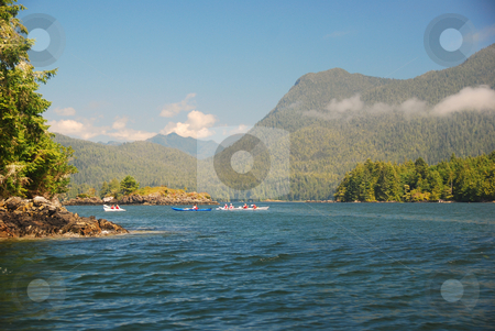Vancouver island stock photo, Kajaking at vancouver islands shore line by Wolfgang Zintl