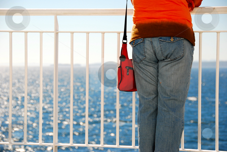 Ocean stock photo, Women is looking at the ocean by Wolfgang Zintl
