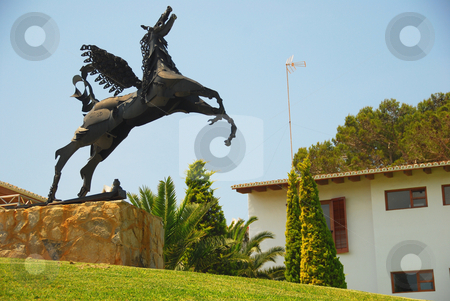 Flying horse stock photo, Pegasus statur on the island mallorca by Wolfgang Zintl