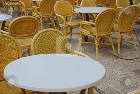 Beer garden stock photo, Beer garden with empty chairs by Wolfgang Zintl