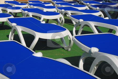 Beach lounger stock photo, Emty blue beach lounger on the island mallorca by Wolfgang Zintl