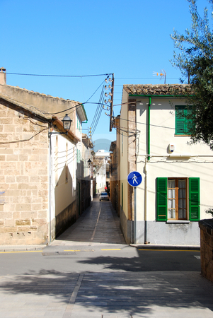Mallorca stock photo, Narow street with old houses on mallorca by Wolfgang Zintl