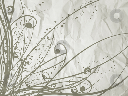 Floral grunge stock photo, Floral design on crumpled paper background by Kirsty Pargeter
