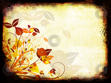 Floral grunge stock photo, Floral design on detailed grunge background by Kirsty Pargeter