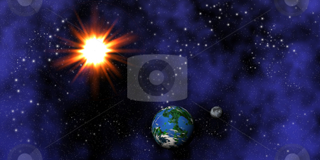 Earth, Moon and Sun stock photo, Fictional composition of the Earth, Moon and Sun by Kirsty Pargeter