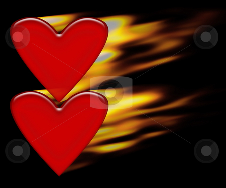 Burning hearts stock photo, Two burning hearts by Kirsty Pargeter