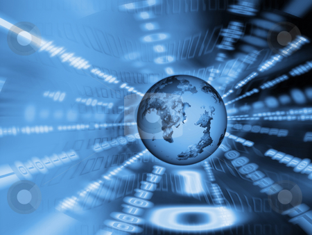 Binary world stock photo, Globe on binary code background by Kirsty Pargeter