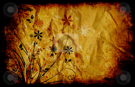 Floral grunge stock photo, Abstract floral design on grunge style background by Kirsty Pargeter