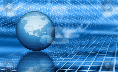 Abstract globe stock photo, 3D render of a globe on abstract background by Kirsty Pargeter